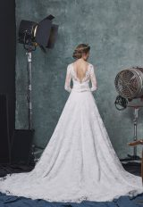 Long Sleeve V-neckline A-line Lace Wedding Dress With Belt by Sareh Nouri - Image 2