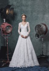 Long Sleeve V-neckline A-line Lace Wedding Dress With Belt by Sareh Nouri - Image 1