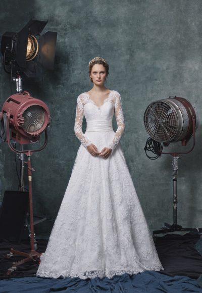 Long Sleeve V-neckline A-line Lace Wedding Dress With Belt by Sareh Nouri
