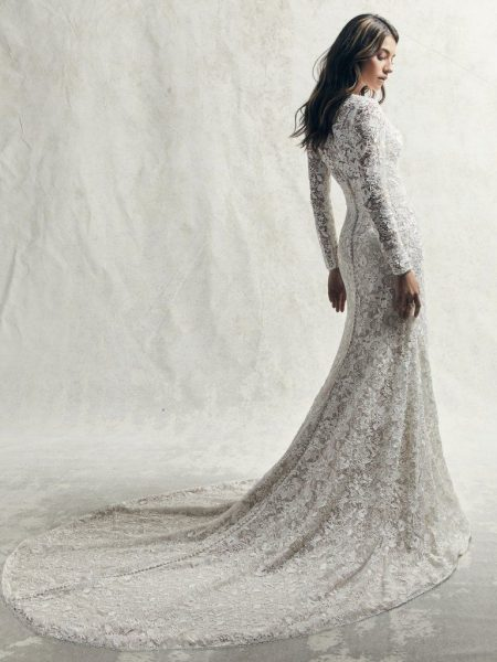 Allover Lace Long Sleeved V-neck Wedding Dress With Center Slit by Sottero and Midgley - Image 2