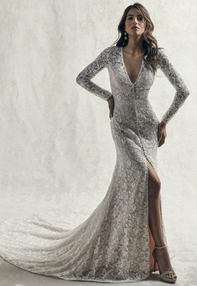 Allover Lace Long Sleeved V-neck Wedding Dress With Center Slit by Sottero and Midgley