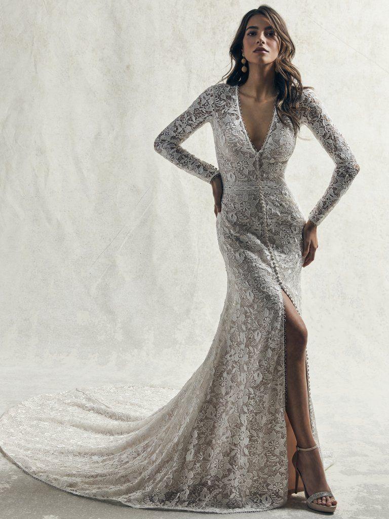Allover Lace Long Sleeved V Neck Wedding Dress With Center Slit