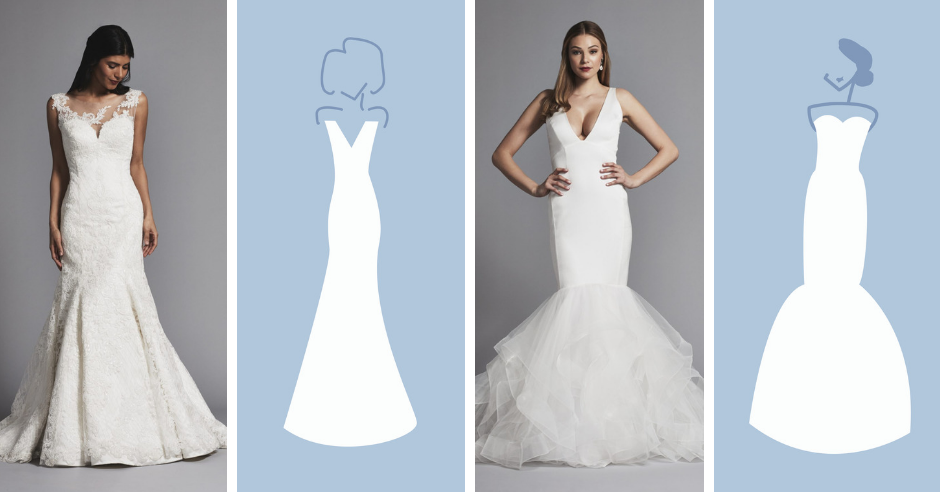 Kleinfeld Bridal has over 1,500 wedding dresses in these silhouettes—mermaid, fit and flare, ball gown, sheath and a-line!