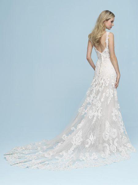 Beaded Lace Sleeveless V-neck Sheath Wedding Dress by Allure Bridals - Image 2