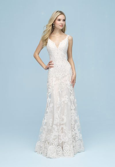 Beaded Lace Sleeveless V-neck Sheath Wedding Dress by Allure Bridals