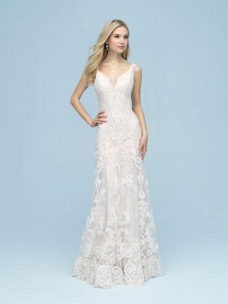 Beaded Lace Sleeveless V-neck Sheath Wedding Dress by Allure Bridals - Image 1