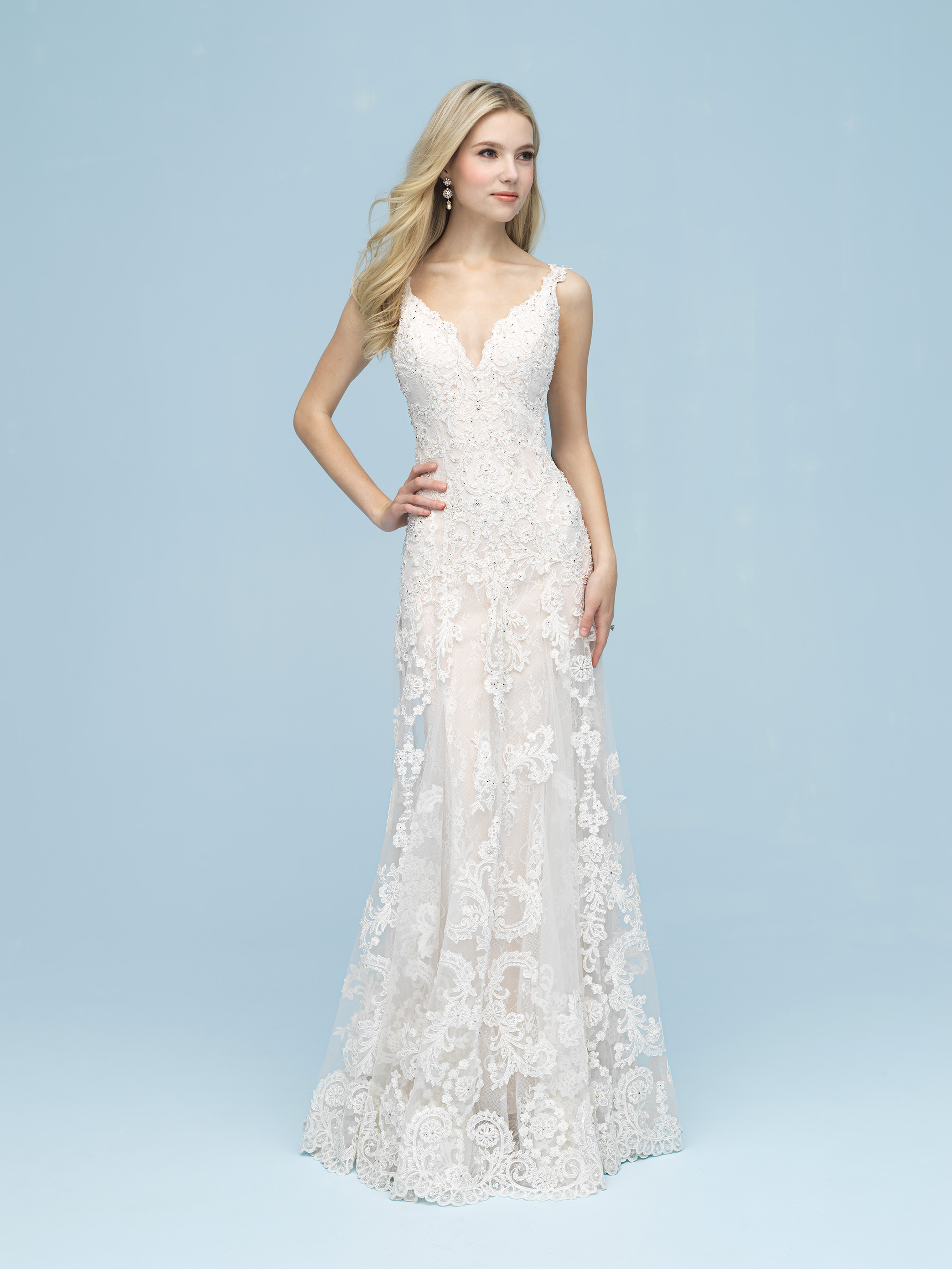 Beaded Lace Sheath Wedding Dress