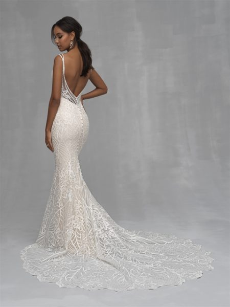 Beaded Sheath V-neck Wedding Dress by Allure Bridals - Image 2