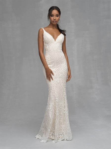 Beaded Sheath V-neck Wedding Dress by Allure Bridals - Image 1