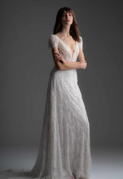 Fully Beaded Short Sleeve Sheath Wedding Dress by Alyne by Rita Vinieris