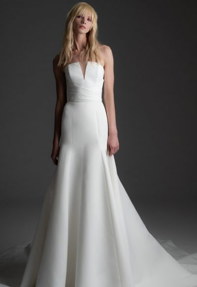 Strapless V-neck Fit And Flare Wedding Dress by Alyne by Rita Vinieris