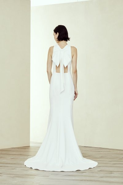 Crepe Fit And Flare High Neck Wedding Dress by Amsale - Image 2