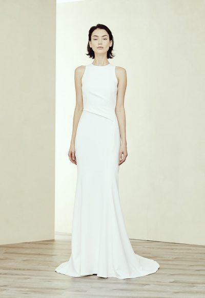 Crepe Fit And Flare High Neck Wedding Dress by Amsale