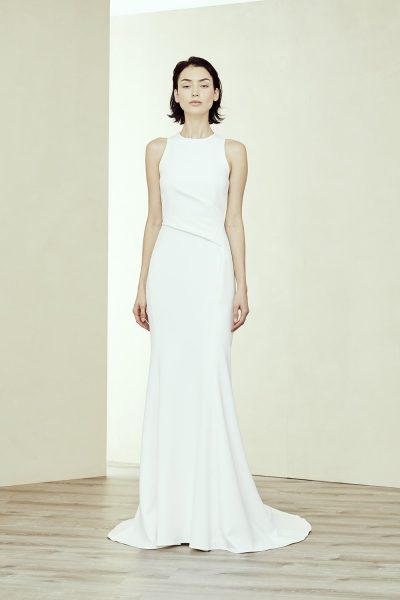 High Neck Wedding Dress.Crepe Fit And Flare High Neck Wedding Dress