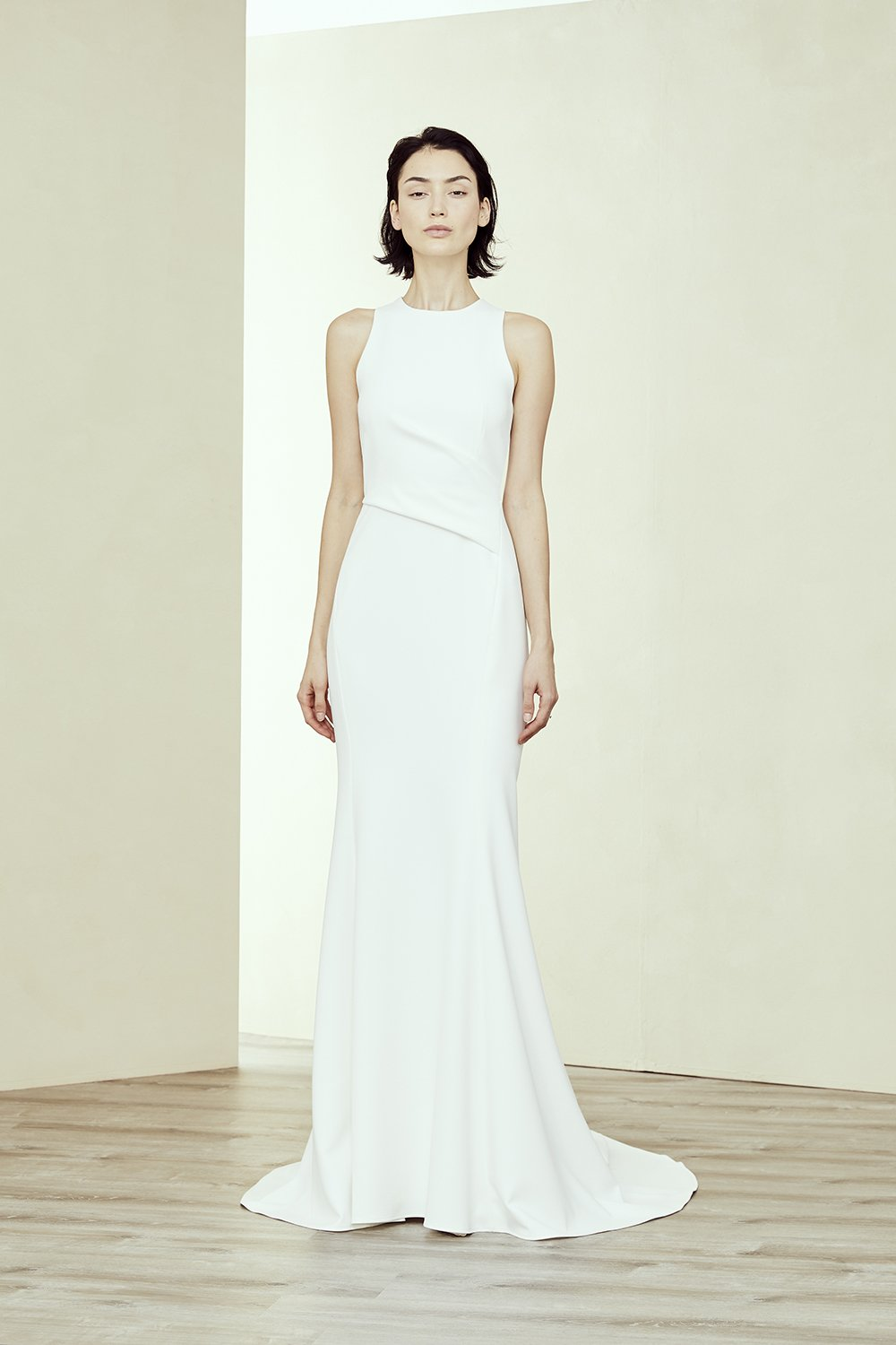 Crepe Fit And Flare High Neck Wedding Dress Kleinfeld Bridal