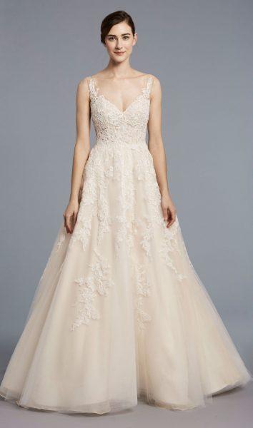 A-line Tulle V-neck Wedding Dress by Anne Barge - Image 1
