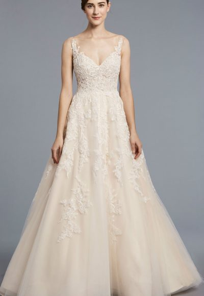 A-line Tulle V-neck Wedding Dress by Anne Barge