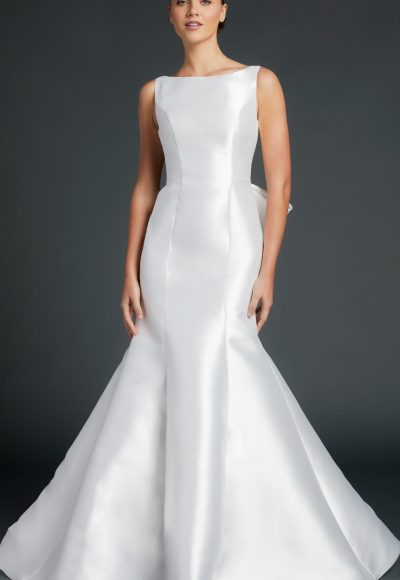 Bateau Neckline Sleeveless Fit And Flare Wedding Dress by Anne Barge
