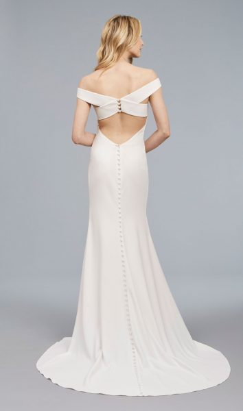 Off The Shoulder Sheath Crepe Gown by Anne Barge - Image 2