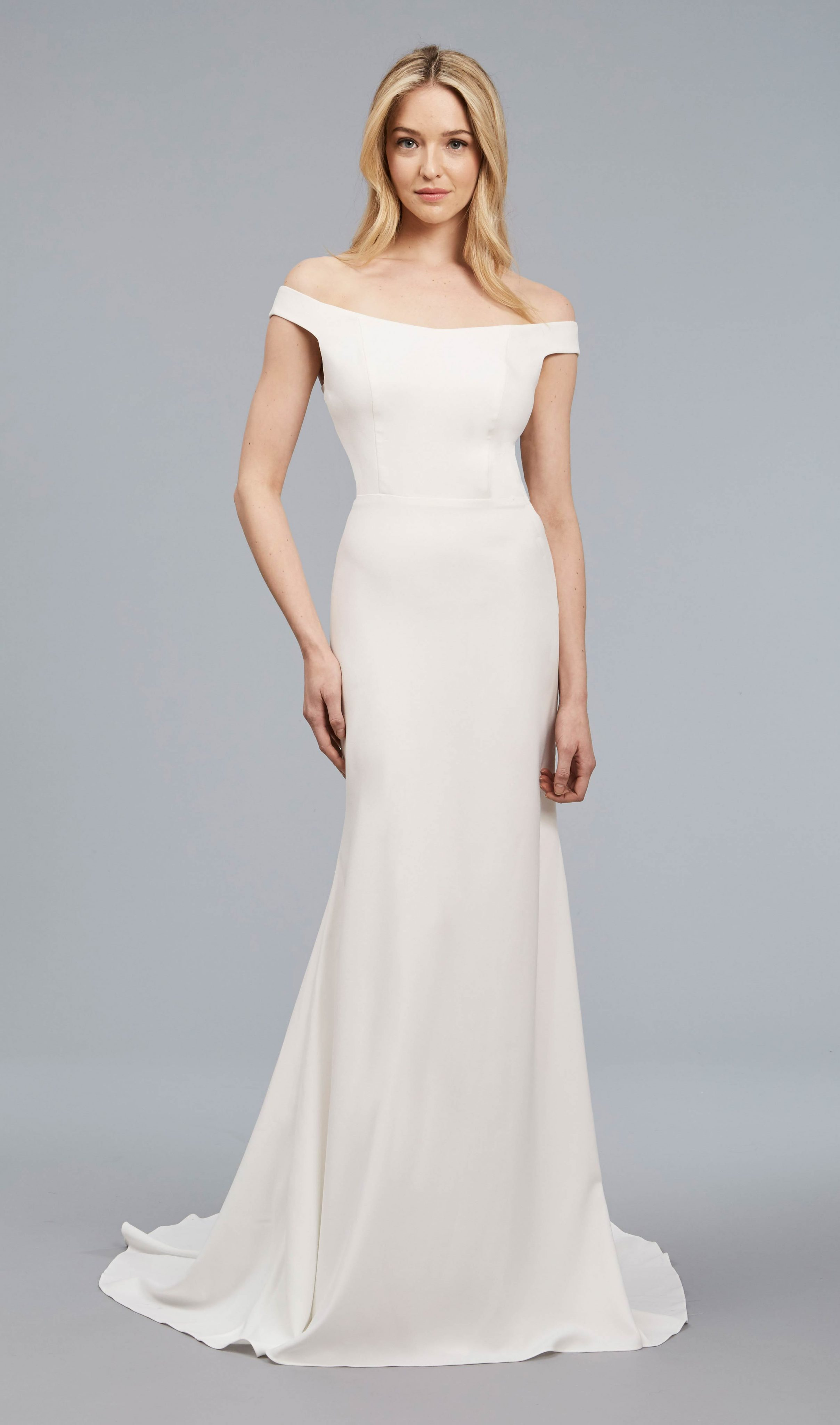 Off The Shoulder Sheath Crepe Gown | Kleinfeld
