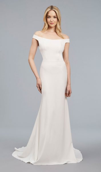 Off The Shoulder Sheath Crepe Gown by Anne Barge - Image 1