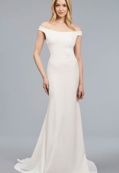 Off The Shoulder Sheath Crepe Gown by Anne Barge