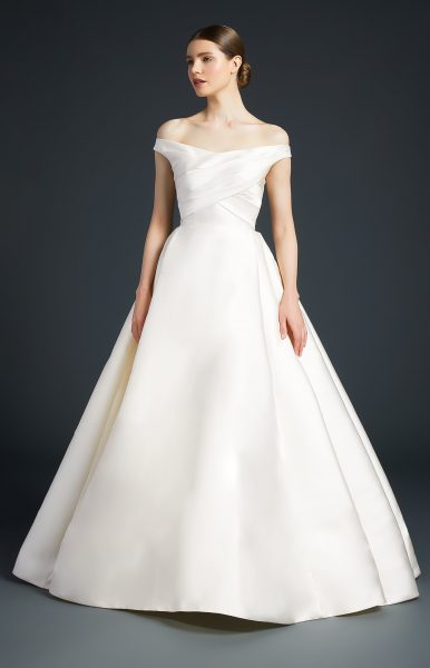Off The Shoulder Simple Ball Gown by Anne Barge - Image 1