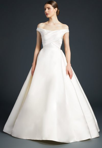 Off The Shoulder Simple Ball Gown by Anne Barge