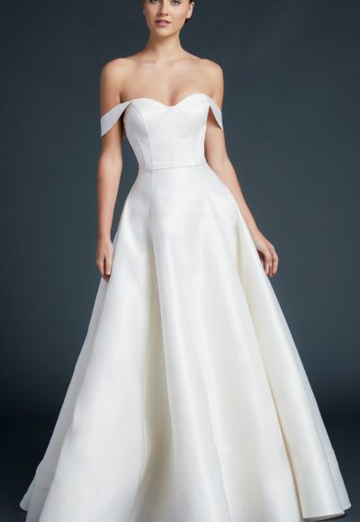 Sweetheart Neckline Off The Shoulder Straps A-line Wedding Dress by Anne Barge