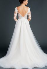V-neck Lace Long Sleeve Bodice Tulle Skirt Wedding Dress by Anne Barge - Image 2