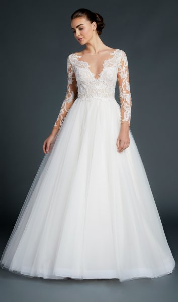 V-neck Lace Long Sleeve Bodice Tulle Skirt Wedding Dress by Anne Barge - Image 1