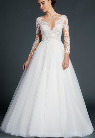 V-neck Lace Long Sleeve Bodice Tulle Skirt Wedding Dress by Anne Barge