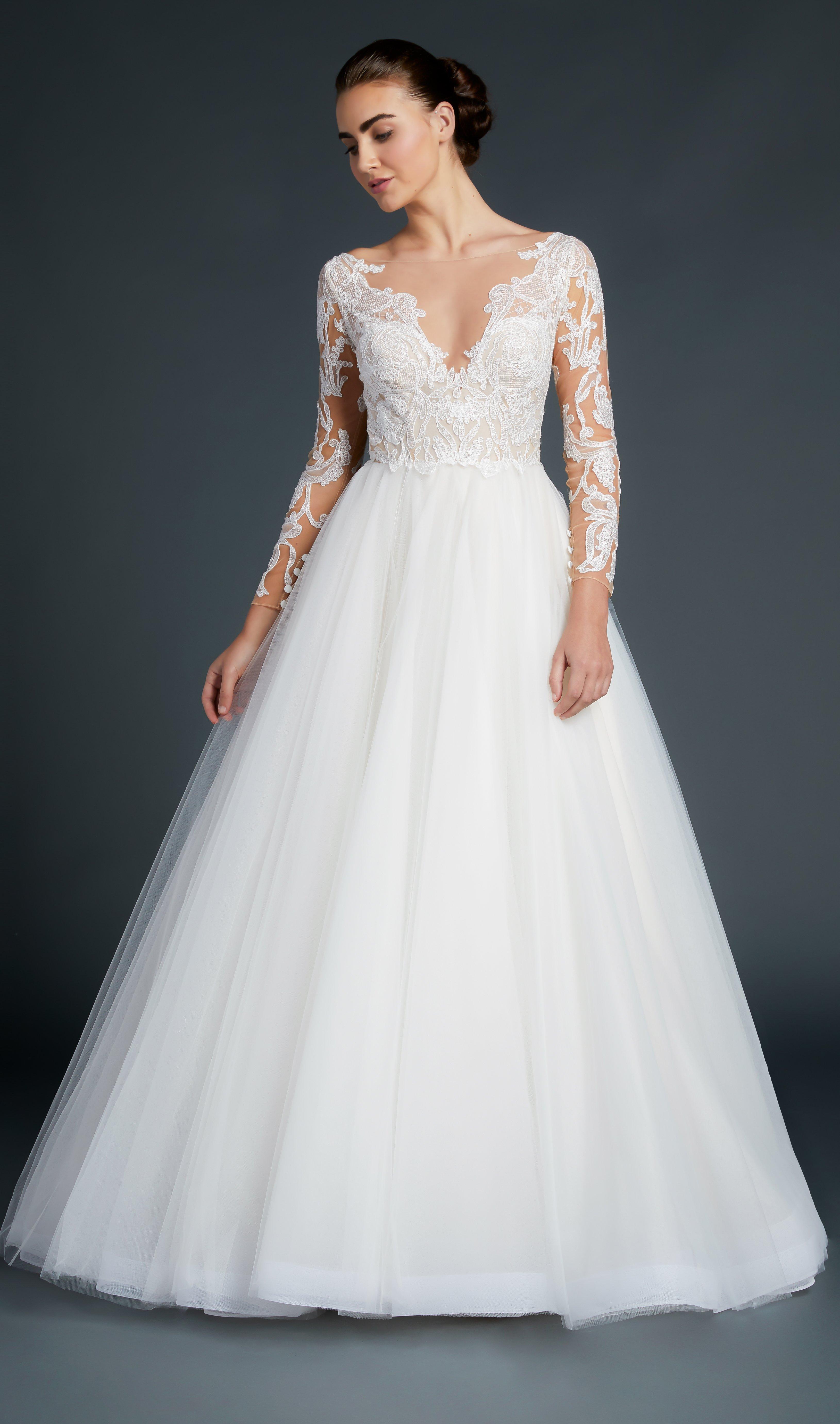 8d797a8cf459 V-neck Lace Long Sleeve Bodice Tulle Skirt Wedding Dress | Kleinfeld Bridal