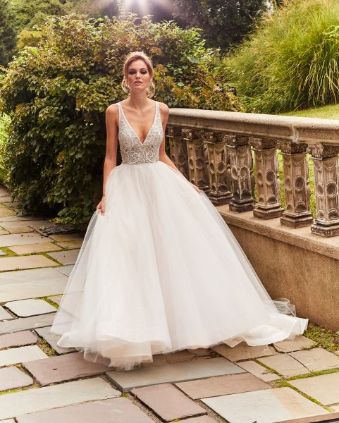 Beaded Lace Bodice Tulle Ball Gown