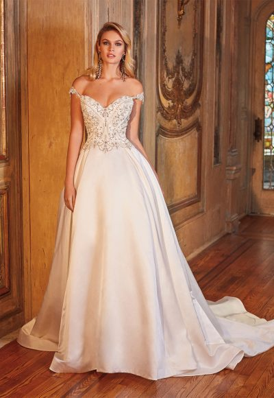 Off The Shoulder Beaded Bodice Ball Gown Wedding Dress by Eve of Milady