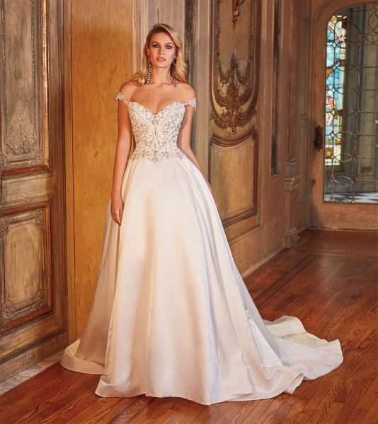 Off The Shoulder Beaded Bodice Ball Gown Wedding Dress
