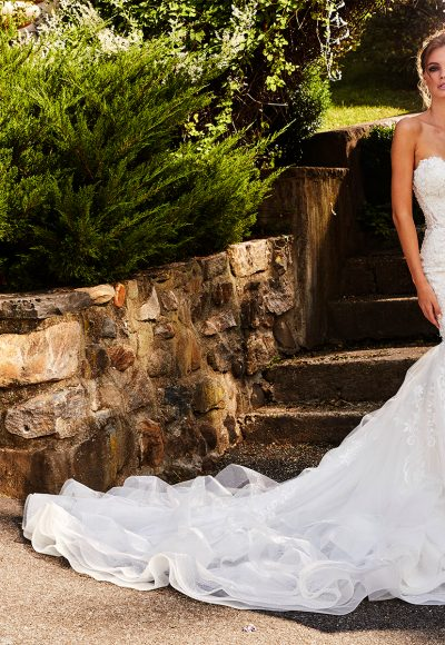 Sweetheart Fit And Flare Beaded Lace Wedding Dress by Eve of Milady