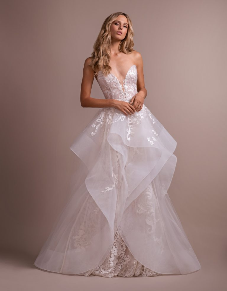 Deep Sweetheart Strapless Embroidered Fit And Flare Wedding Dress by Hayley Paige - Image 1