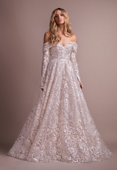 Lace A-line Wedding Dress With Removable Off The Shoulder Long Sleeves by Hayley Paige
