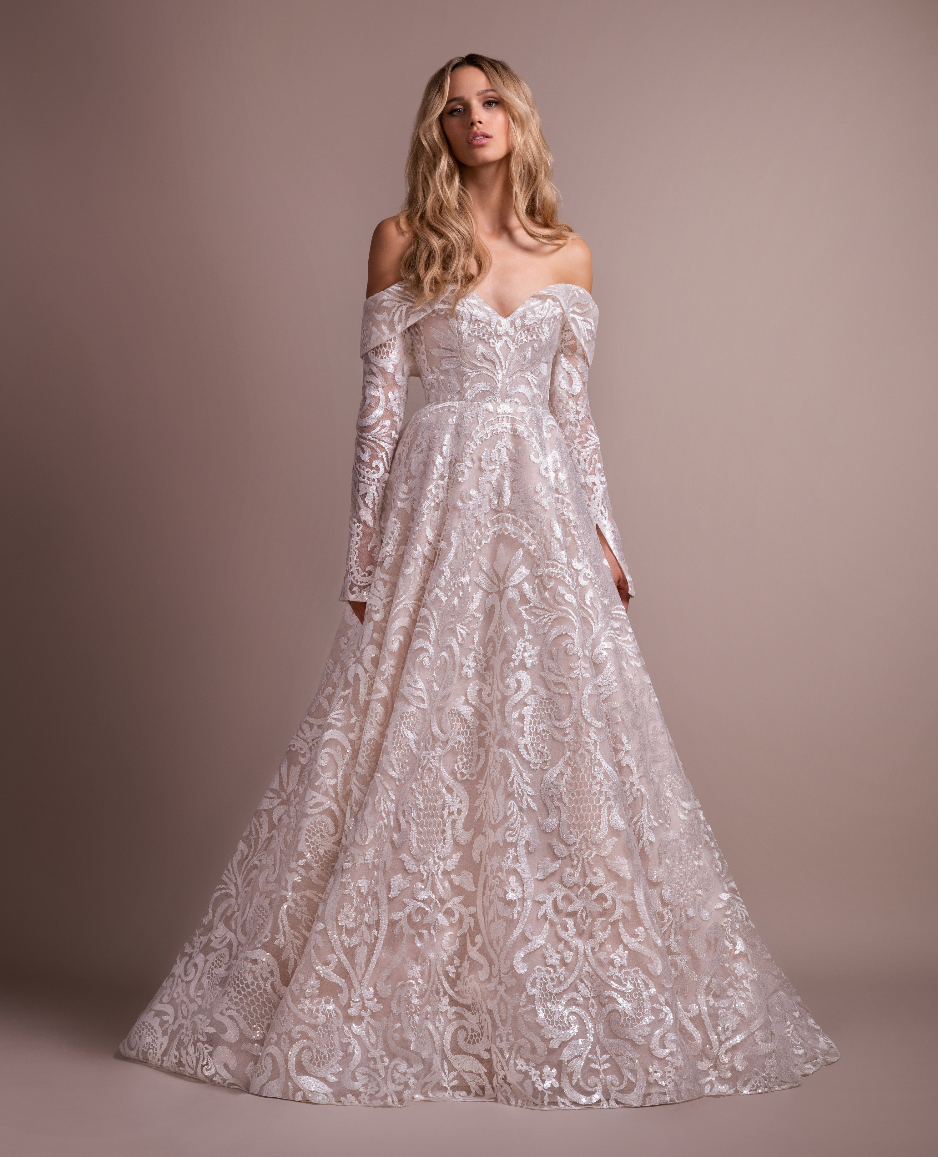 Wedding Gown Stores Nyc: Lace Wedding Dress With Removable Off The Shoulder Long