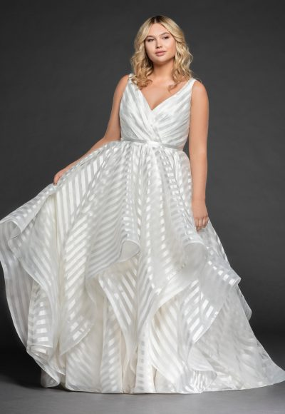 Striped Organza Ball Gown by BLUSH by Hayley Paige