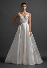 Scalloped V-neck Natural Waist Silk Skirt A-line Wedding Dress by Lazaro - Image 1