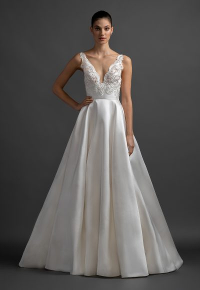Scalloped V-neck Natural Waist Silk Skirt A-line Wedding Dress by Lazaro