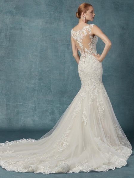 Fit And Flare Embroidered Lace Wedding Dress by Maggie Sottero - Image 2