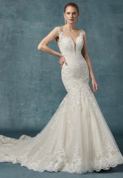 Fit And Flare Embroidered Lace Wedding Dress by Maggie Sottero