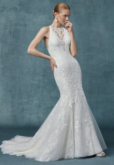 Fit And Flare Lace Halter Neckline Wedding Dress by Maggie Sottero