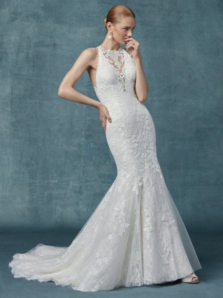 9d893c372be Fit And Flare Lace Halter Neckline Wedding Dress by Maggie Sottero - Image 1