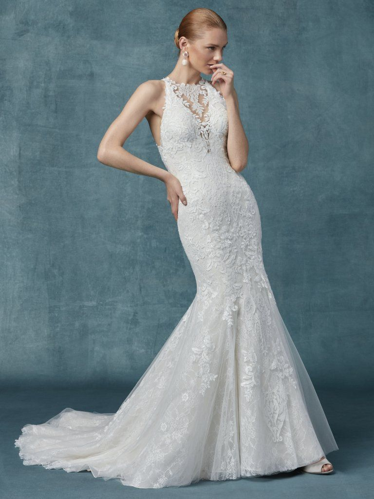 Fit And Flare Lace Halter Neckline Wedding Dress