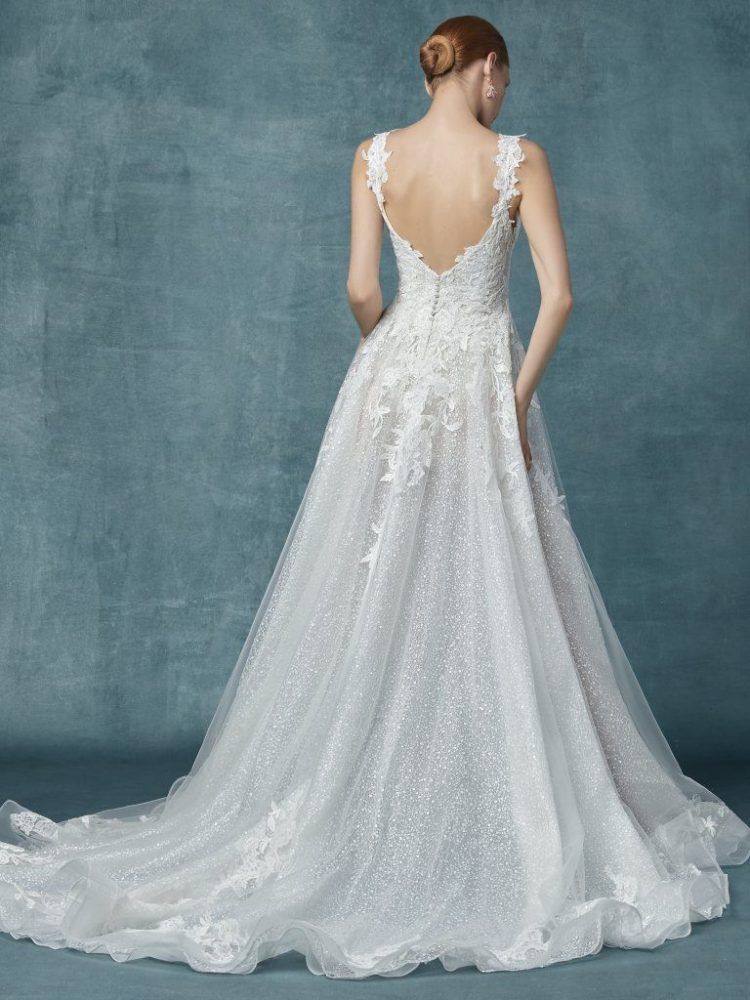 Lace Glitter A-line Wedding Dress by Maggie Sottero - Image 2