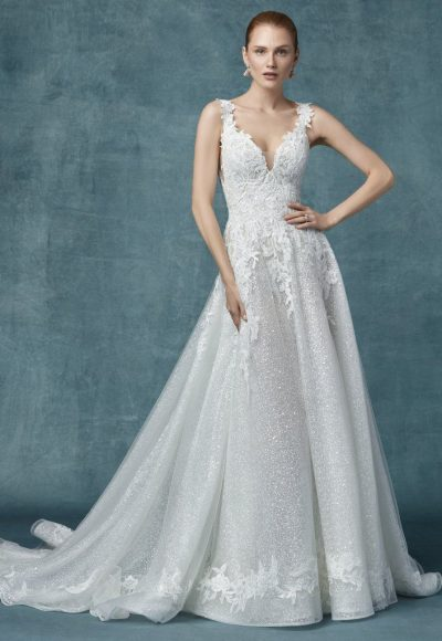 Lace Glitter A-line Wedding Dress by Maggie Sottero